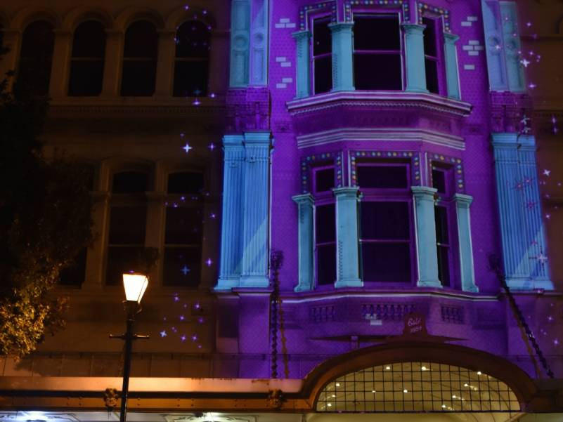 Erica Sklenars Projection mapping Fringe HQ Building 2019. Image by Kerry Hodge